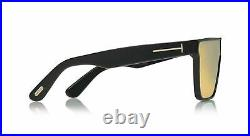 Tom Ford WHYAT Black Brown Mirrored Polarized 65mm Sunglasses FT0709 01G