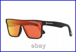Tom Ford WHYAT FT0709 FT 709 01U Black Red Mirror Shield Men Sunglasses Italy