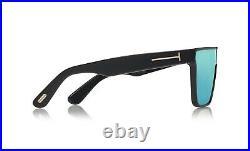 Tom Ford WHYAT FT0709 FT 709 01X Black Blue Mirror Shield Men Sunglasses Italy