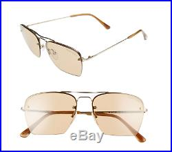 Tom Ford Walker TF504 28E Sunglasses Gold Frame Brown Lenses 57mm
