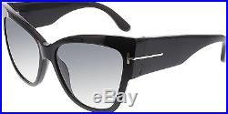 Tom Ford Women's Gradient Anoushka FT0371-01B-57 Black Cat Eye Sunglasses