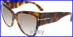 Tom Ford Women's Gradient Anoushka FT0371-53F-57 Tortoiseshell Cat Eye Sunglasse