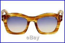 Tom Ford Women's Greta TF431 TF/431 41W Striped YellowithGold Sunglasses 50mm