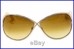 Tom Ford Women's Miranda TF130 TF/130 28F Rose Gold/Yellow Sunglasses 68mm
