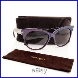 4c9b81c91cf3d Tom Ford Womens Saskia TF330 Matte Violet Cat Eye Sunglasses Gray Gradient  Lens